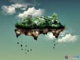 Photoshop合成在空中漂移的陆地