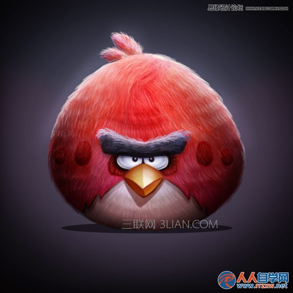 Photoshop绘制可爱的愤怒的小鸟 人人自学网