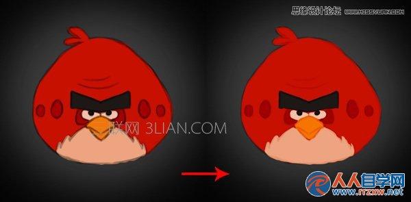 Photoshop绘制可爱的愤怒的小鸟效果图,PS教程,思缘教程网