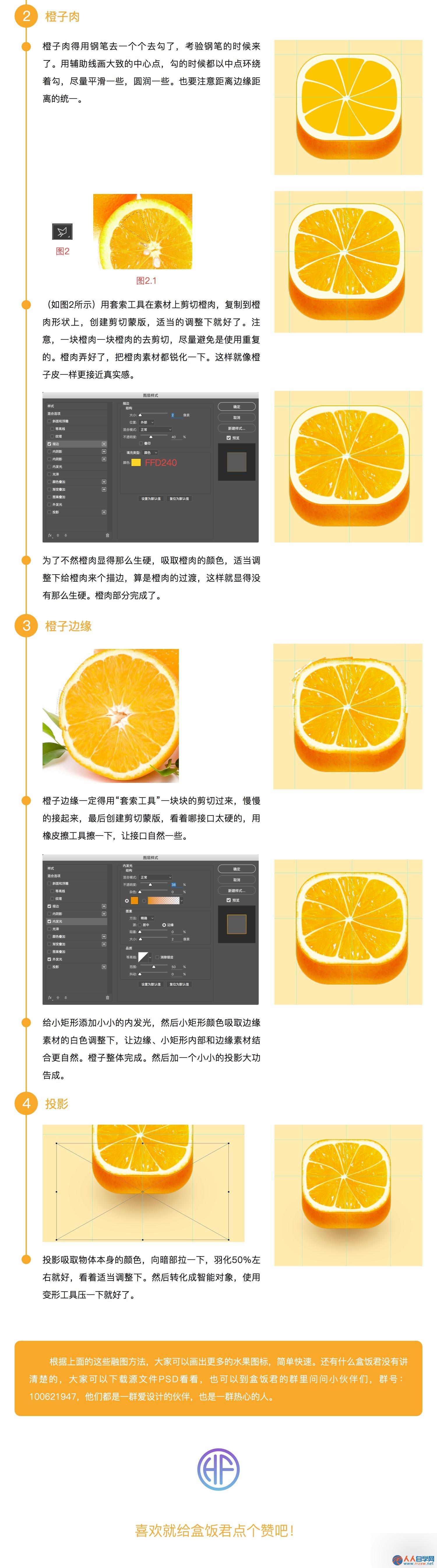 PS鼠绘非常有创意逼真的橙子APP图标
