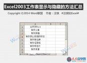 Excel2003工作表显示与隐藏的方法