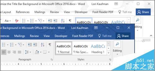 office2016标题栏主题怎么设置