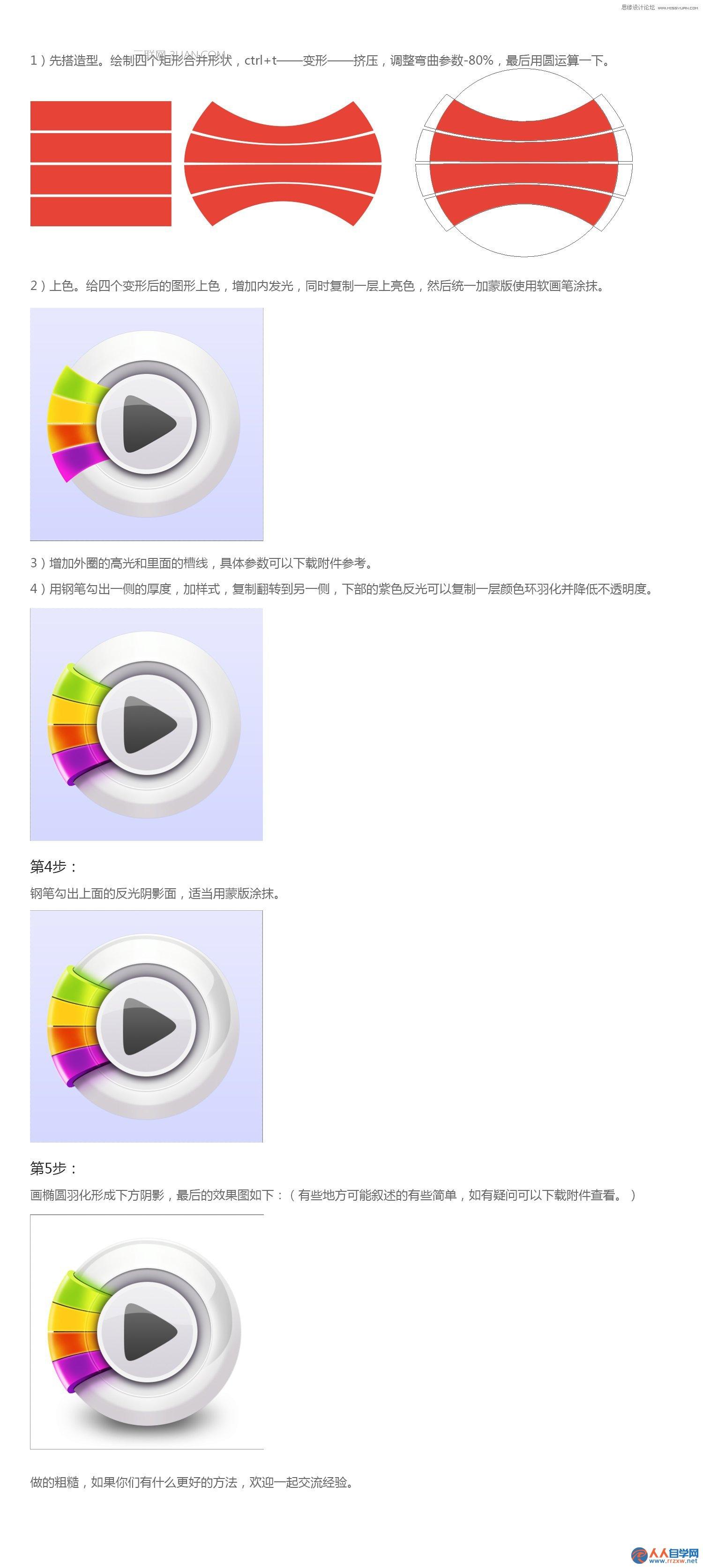 Photoshop绘制立体风格的播放器图标教程,PS教程,思缘教程网