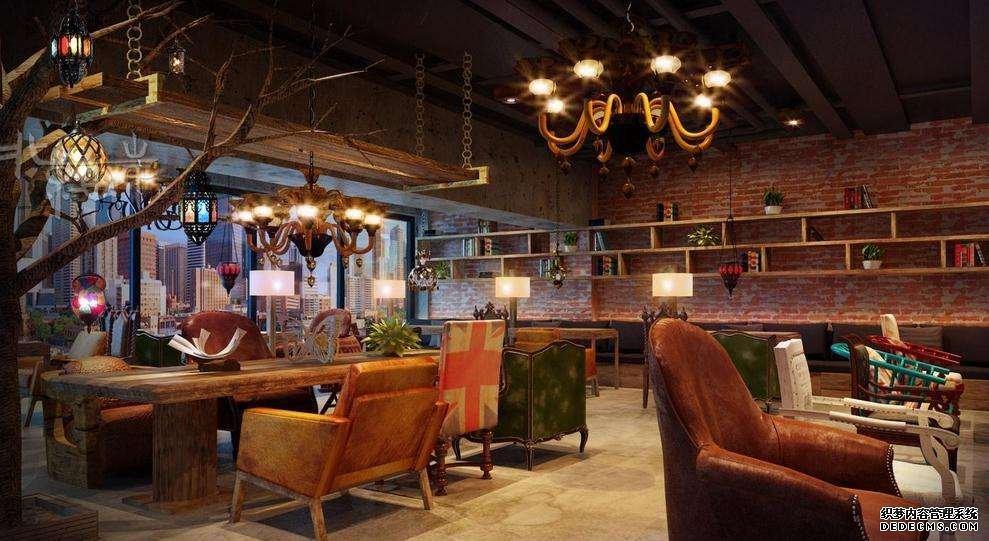 美式咖啡厅设计   三联