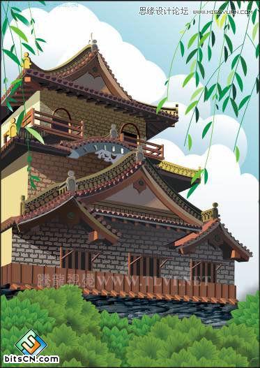 CorelDRAW如何绘制中国古典建筑城楼场景?  三联
