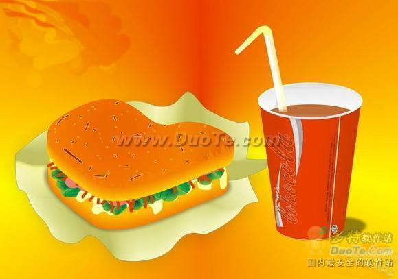 Coreldraw如何绘制汉堡+可乐   三联