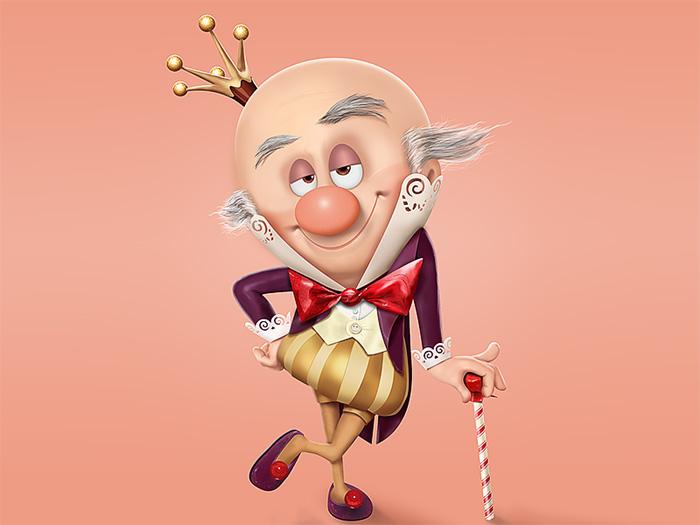 PS鼠绘3D电影中的可爱的糖果国王 三联