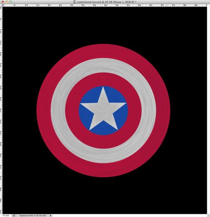 photoshop绘制逼真美国队长的盾牌 时代设计 鼠绘教程