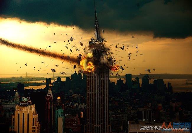 Photoshop合成流星撞击地球震撼场景