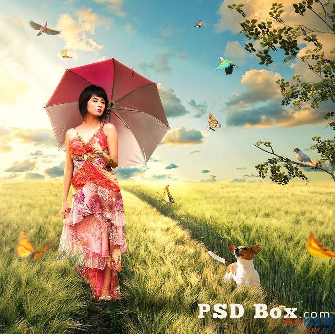 Photoshop合成夏天野外散布的美女场景