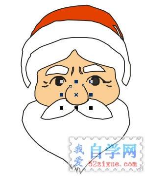 (3)用手绘工具绘制一个半圆弧形为对圣诞老人的