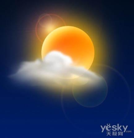 太阳以及光晕的位置